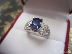 Csodálatos zafír gyűrű! ezüst, fehér topáz, fehérarany