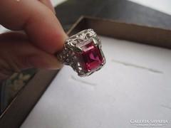 Mesés, filigrán antik ezüst rubin gyűrű - 1,6 cm