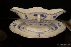 Herendi kék Waldstein szószos tál aljjal a 19. századból