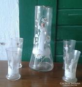 HUTA antik fújtüveg kancsó+4 pohár