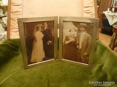 Összecsukható dupla ezüst fényképtartó / képkeret