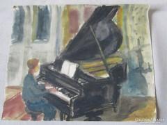 MOSSHAMMER GYÖRGY jelzett festmény ZONGORA LECKE 1959