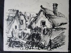 MOSSHAMMER GYÖRGY festmény FALÚVÉGI HÁZAK 1949