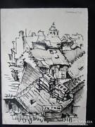 MOSSHAMMER GYÖRGY festmény SZENTENDRE HÁZTETETŐ -K 1949