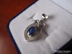 Természetes zafír ezüst medál brill csiszolású cirkónia