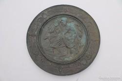 Antik római ókori jelenetes bronz tál