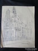 MOSSHAMMER GYÖRGY Jelzett rajz kép BAROKK VÁROS 1949