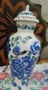 Kézzel festett nagy lengyel urna váza madár m - fedeles váza