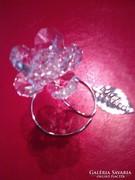 Swarovski kristályos csodaszép rózsa ródiumozott