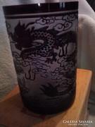 Egyedi kínai Galle tip.savmaratott üveg mécsestaró sárkányos