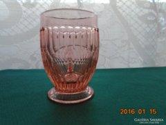 Rózsaszín üveg füles,talpas pohár-8,5 cm