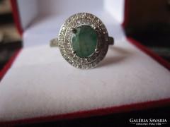 Fennséges természetes smaragd és fehér topáz antik gyűrű