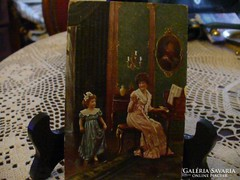 """Antik képeslap """"A táncóra"""""""