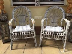 Provence bútor, 1db antikolt fehér nád karszék.
