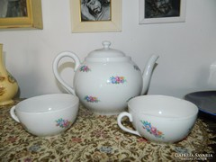 Zsolnay teás kiöntő két csészével a múlt század elejéből
