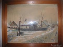 Tiszatarjáni Utcarészlet, Akvarell, Szignózott, 1934