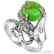 Bronz Türkiz köves,kígyós ezüst gyűrű