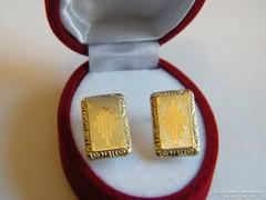 Antik ezüst fülbevaló,+14 kar arany