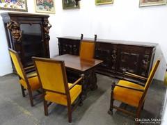 0G313 Antik neoreneszánsz emberalakos dolgozószoba