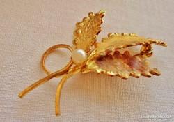 Gyönyörű antik aranyozott gyöngyös  bross