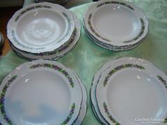 Ibolyás 6 lapos 6 mély tányér