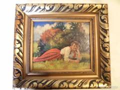 Szignált olaj karton festmény szép keretben
