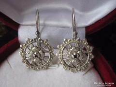 Szecessziós rózsa fülbevaló - ezüst