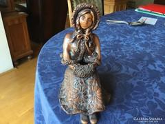 Bod Éva kerámia szobor, 21 cm, hibátlan, szépséges