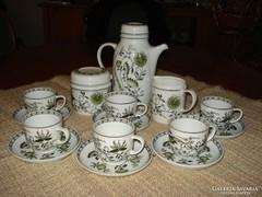 Hollóházi, antik 6 sz. kávéskészlet