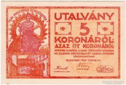 GANZ TÖRZSGYÁR, 5 KORONA, 1919 - hajtatlan