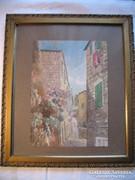 Utcakép kép festmény akvarell ismeretlen festő Perasztó című
