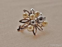 Csodás antik ezüst gyöngyös selyemsál összefogó dísz