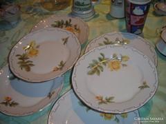 Zsolnay sárga rózsás tányérok 4 lapos