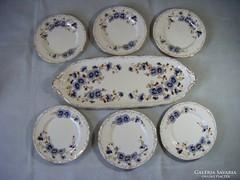 Zsolnay búzavirágos süteményes/szendvicses készlet