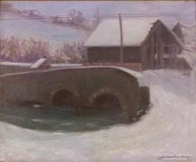 Magyar festő, 1927 : Téli utcakép híddal