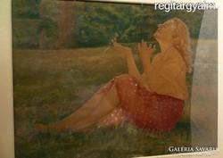 N217 Ismeretlen festő Fiatal nő a réten