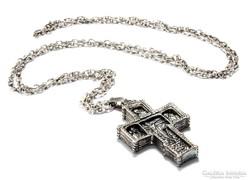 Antik szep ezust lanc kereszt medallal