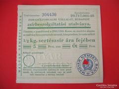 1/2 kg zsírbeszolgáltatási utalvány Budapest