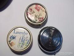 Gyógyszeres dobozka fém levendula,virágos