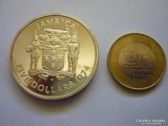 Nagy méretű ezüst jamaikai 5 dollár
