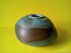 Szignózott türkiz zöld kerámia váza