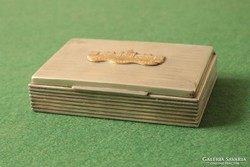 Cigarettakínáló doboz Parlament dísszel, alpakka fa betéttel