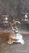 Bécsi barokk angyalkás ezüst gyertyatartó