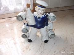 Porcelán tengerész likőrös készlet eladó!