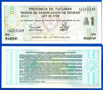 1991 Tucuman Provincia Argentína 1 Austral  UNC