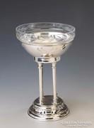 Ezüst üveges kínáló/asztalközép