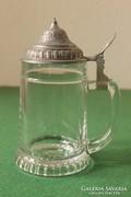 Sörös kupa ón tetővel, öntött üveg