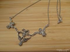 Szecessziós ezüst nyakék markazitos