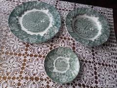 Angol zöld mintás porcelán tányérok