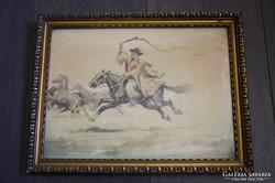 Bakófay P.F. aláírással - Vágtató csikós, akvarell